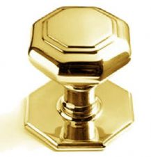 Octagonal Centre Door Knob 65mm in polished Brass